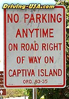 """No Parking"" sign at Captiva"